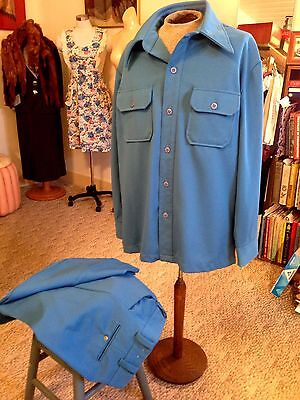 Vtg 1970s Men's Textured Polyester Leisure Suit Size 50 XL Funky Blue