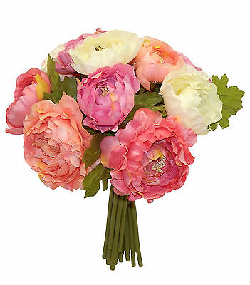 CORAL PINK CREAM ~ RANUNCULUS Bouquet Bridal Silk Wedding Flowers Centerpieces