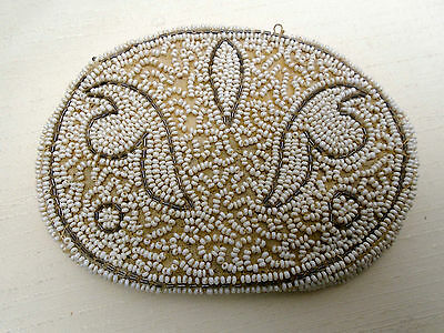 Antique Vintage Beaded Handbag Purse Small Finger Hand Clutch NRA Code Tag USA