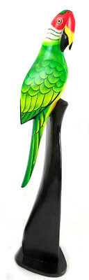 """20"""" Wood Green Parrot Statue On Stand Carving Painting Head Art African Tropical"""