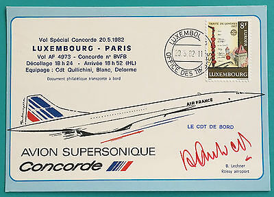 Spécial Flight Concorde F.BVFB Luxembourg Paris signed Cpt QUILICHINI very rare