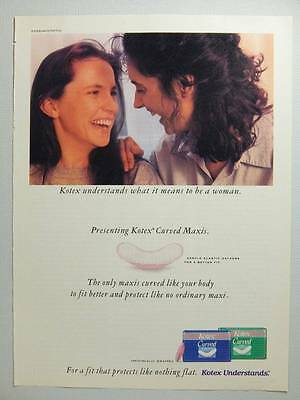Kotex Curved Maxi Pads Vintage Magazine Ad Page - 1993 - Friends Laughing