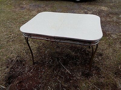Vintage Mid Century Kitchen Table Chrome Formica Cracked Ice Gray Farm Country