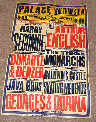 Walthamstow Palace Vintage Poster 1950 Harry Secome Arthur English +