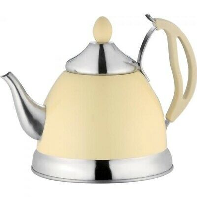 Cream 1.5L Stainless Steel Tea Pot With Removeable Infuser Non Drip Spout Teapot