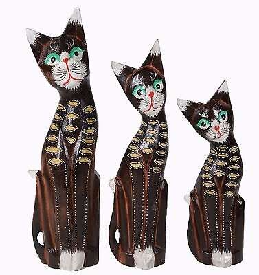 Set of 3 Cats House Meditating Yoga Statue Hand Painted Carved Wooden Cat Kitten