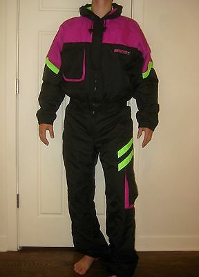 Vtg 80s OMNI Neon OBERMEYER Mens MEDIUM Onesie Snow SKI Suit BIB Coat Snowsuit M