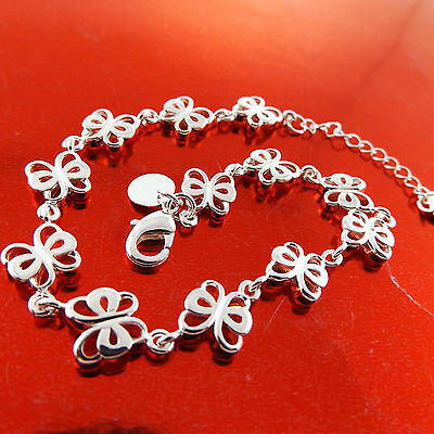 Fsa700 Genuine Real 925 Sterling Silver Sf Girls Butterfly Charm Bracelet Bangle