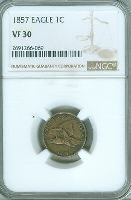 1857 Flying Eagle 1c NGC VF30 Popular First Year Type Coin (1721313)