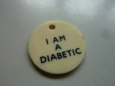 "Vintage Plastic ""i Am A Diabetic"" Double Sided Tag 1 Inch"