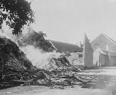 Belgian farm house burned by invading German soldiers World War I WWI 8x10 Photo