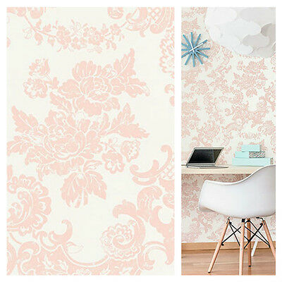 Crown Vintage Lace - Rose Gold Toile Wallpaper - Shabby Chic Wall Decor - M1110