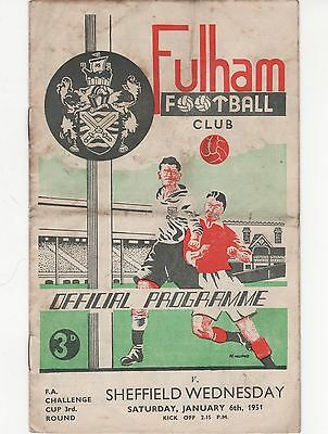 Fulham V Sheffield Wednesday 1950/1 Fa Cup