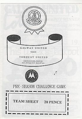 Galway Utd V Torquay 1994 Friendly