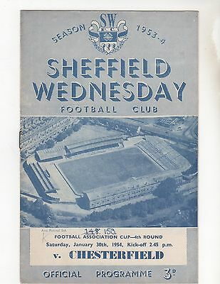 Sheffield Wednesday V Chesterfield 1953/4 Fa Cup