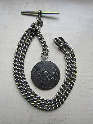 Heavy Antique  Sterling SILVER ' ADJUSTABLE ' DOUBLE Albert Watch Chain & fob