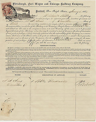 1883 Pittsburgh Fort Wayne Chicago Railway Company Bill of Lading Revenue stamp