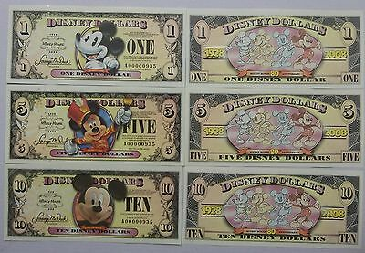 Disneyland 2008 Mickey Mouse 80th $1 $5 $10 Disney Dollar Matched Set A00001194