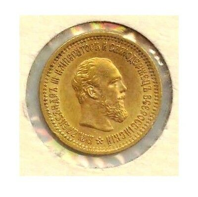 1889 RUSSIA GOLD Coin 5 ROUBLES -  Alex III - KM# 42 *