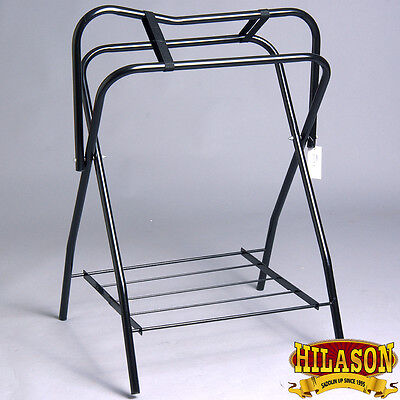 Hilason Portable Western English Folding Floor Metal Saddle Rack Black Pack Of 2