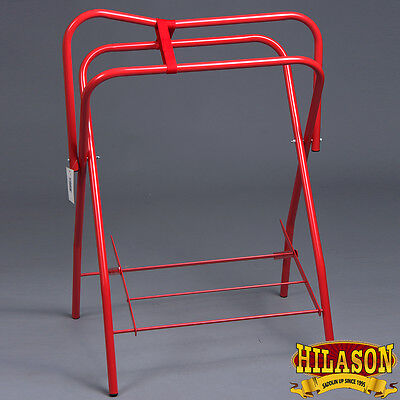 Hilason Portable Western / English Folding Floor Metal Saddle Rack Red