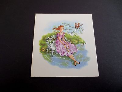 Vintage Unused Xmas Greeting Card Cute Girl in a Garden with Squirrel Friend