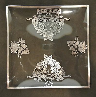 """Vtg Sterling Silver Overlay on Glass"""" 25th Wedding Anniversary"""" Square Plate"""