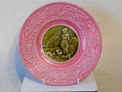 "antique 8"" plate villeroy & boch Schramberg majolica plate. girl & dogs"