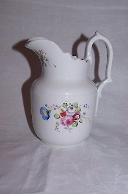 "Antique French Paris Porcelain 7"" Handpainted Floral Jug Mid 19th Century"