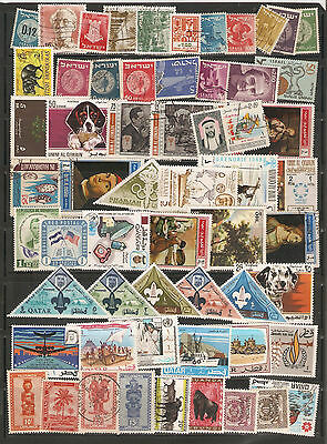a stock page of mixed used world stamps, starting with Israel.