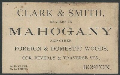 1870s Boston Card for Mahogany & Other Foreign & Domestic Woods Dealer