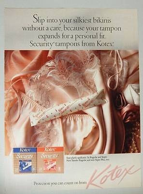 Kotex Security Tampons - Vintage Magazine Ad Page 1989 - Silky Lingerie