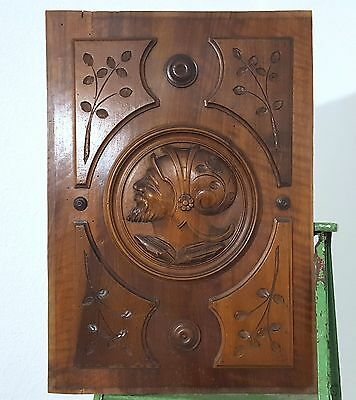Carved Wood Panel Antique French Man Gothic Salvaged Upcycled Carving Furniture