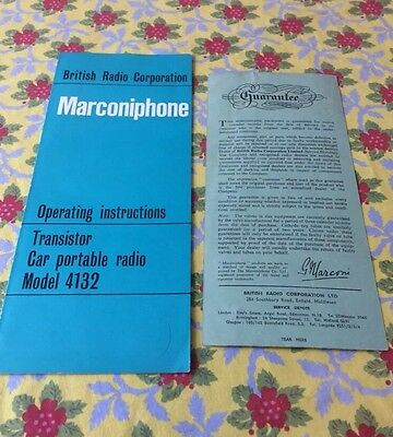 Vintage Marconiphone Operating Instructions And Guarantee For Transistor Car Po4
