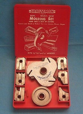 CRAFTSMAN MOLDING SET 6 CUTTERS fits 1/2 5/8 3/4 ARBORS Radial or Bench