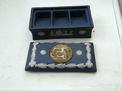 Small Rectangular Box With Three Sections Jasper Ware Style  No Makers Mark