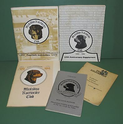 Lot of 5 Vintage Medallion Rottweiler Club Books 1969 1979 1984 The Helping Paw