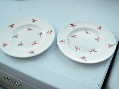 Two China  Side Plates With A Small Pink Rose Pattern