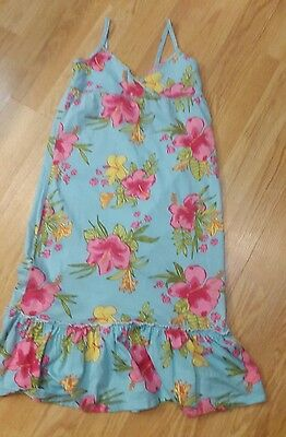Lovely summer sleeveless tropical blue maxi dress age 6 -  7  - 8 years H&M