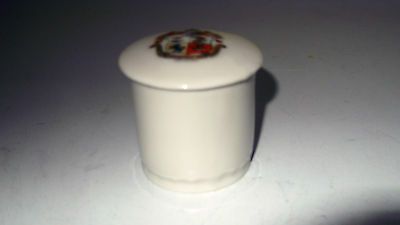 Small Round Lidded Pot  Crested Douglas [Isle Of Man]  By Gemma