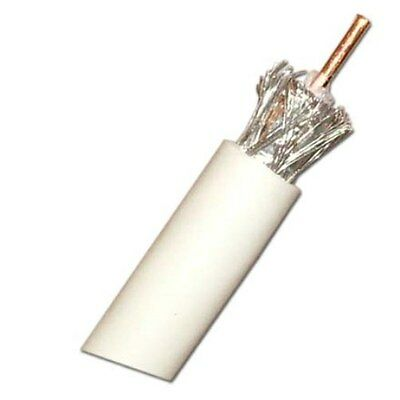 RG6 Single Coax Cable, Copper Clad Steel, 1000ft, White
