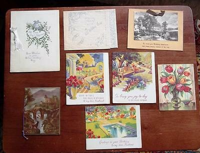 VINTAGE DECO GREETINGS CARDS,8 CARDS,MIXED,c1920-30s
