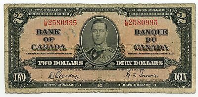 1937 Bank of Canada - Two Dollars $2 Currency Note - AJ735
