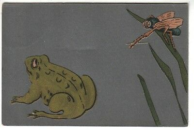 Artist Drawn Applique Frog and Insect