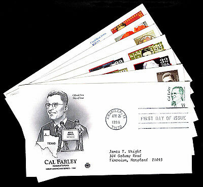 1996 U.s. Special Americans 1St Day Covers - Lot Of 7 - Vf - Cv$9.50 (Esp#4378)