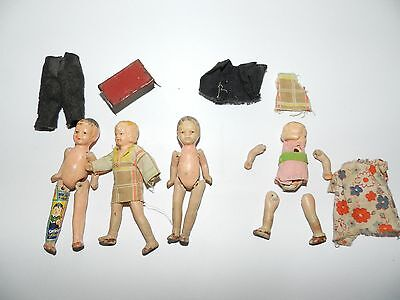 Vintage 3 inch Tied Jointed made in Japan Bisque Baby Dolls