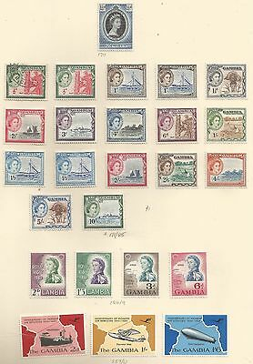 Gambia Sg171-85 The 1953-9 Qe2 Set To 10/- + Some Others On Album Page,see Scan