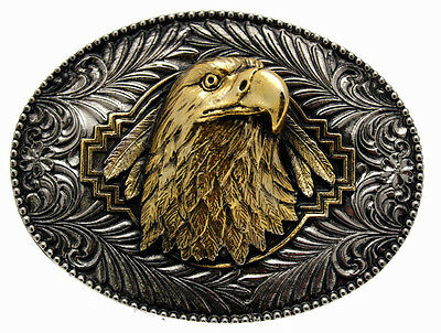 Gold Plated Eagle Head Belt Buckle Including Display Stand.