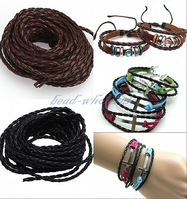 5m Black Man-made Leather Braid Rope Hemp Cord For Necklace/Bracelet 3mm