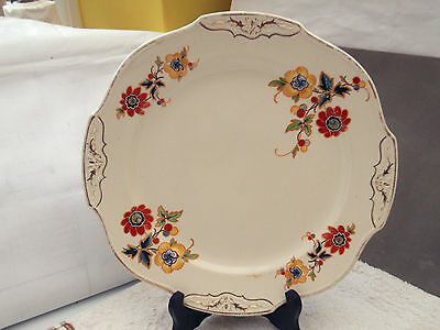 1906 - 20 Morley Fox Bread / Cake Plate With Four Handles And A Floral Pattern
